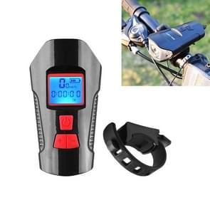 350LM USB Charging waterdichte snap-on fiets koplamp met speaker & stopwatch functie (rood)