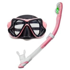 Yoogan volwassene volledig droog masker Tube zwemmen glas duiken apparatuur pak  ademhaling kan overeenkomen met kortzichtige Lens(Pink)