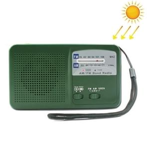 Hand Crank Dynamo Solar Power Radio Self Powered Phone Charger LED Flashlight Emergency Survival (Green)