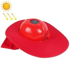 Solar Charging Safety Helmet with Fan & Sunshade Outdoor Hard Hat(Red)