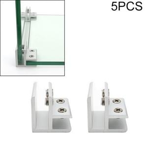 5 PCS Aluminum Alloy Glass Combination Clamp Cabinet Partition Fixing Clip, 90 degrees Cliped 10-12mm