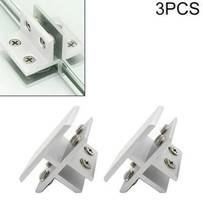 3 PCS Aluminum Alloy Glass Combination Clamp Cabinet Partition Fixing Clip, T-type Cliped 10-12mm