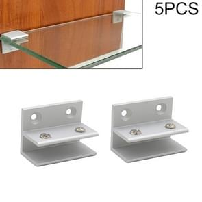 5 PCS F-type Aluminum Alloy Glass Combination Clamp Cabinet Partition Fixing Clip, Size: L, Cliped 5-10mm
