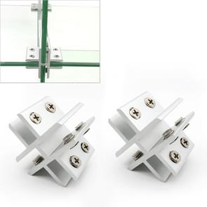 2 PCS Cross-type Aluminum Alloy Glass Combination Clamp Cabinet Partition Fixing Clip, Cliped 10-12mm