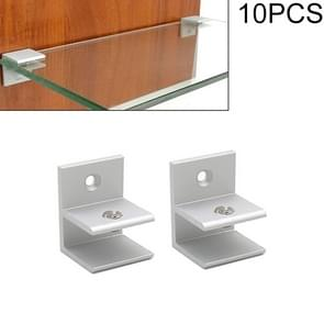 10 PCS F-type Aluminum Alloy Glass Combination Clamp Cabinet Partition Fixing Clip, Size: S, Cliped 5-10mm
