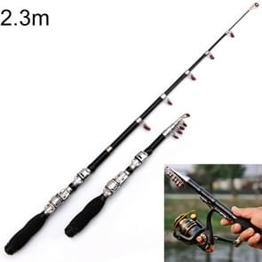 37cm Portable Telescopic Sea Fishing Rod Mini Fishing Pole, Extended Length : 2.3m, Black Clip Reel Seat