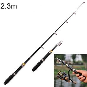 37cm Portable Telescopic Sea Fishing Rod Mini Fishing Pole, Extended Length : 2.3m, Black Tube-type Reel Seat