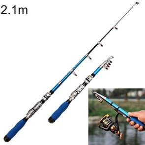 36cm Portable Telescopic Sea Fishing Rod Mini Fishing Pole, Extended Length : 2.1m, Blue Clip Reel Seat