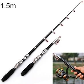 32cm Portable Telescopic Sea Fishing Rod Mini Fishing Pole, Extended Length : 1.5m, Black Clip Reel Seat