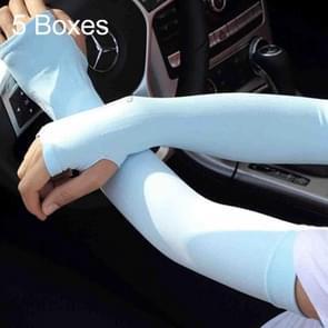 5 vakken nieuwe stijl ijs Silk hoesjes vers en koel UV bescherming Oversleeve  Open vingers Style(Blue)