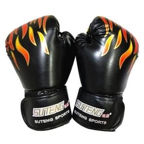 SUTENG vlam patroon PU lederen fitness boksen handschoenen voor volwassenen (zwart)