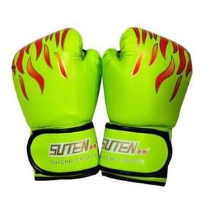 SUTENG vlam patroon PU lederen fitness boksen handschoenen voor volwassenen (groen)