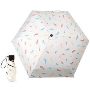 Five Folding Ultralight Umbrella, Women Waterproof Anti-UV (White Feather Pattern)