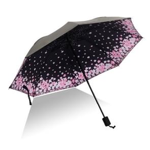 Lightweight Portable Three Folding Folding Umbrella, Black Waterproof Anti-UV, A Pattern
