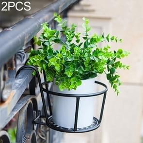 2 PCS Iron Metal Railing Potted Plant Shelves Hanging Flowerpot Rack (Black)