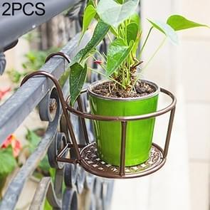 2 PCS Iron Metal Railing Potted Plant Shelves Hanging Flowerpot Rack (Bronze)