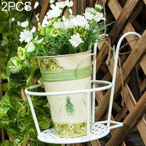 2 PCS Iron Metal Railing Potted Plant Shelves Hanging Flowerpot Rack (White)