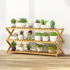 3-Layer Balcony Living Room Collapsible Solid Wood Flower Stand Potted Planting Shelves, Length: 100cm