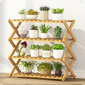4-Layer Balcony Living Room Collapsible Solid Wood Flower Stand Potted Planting Shelves, Length: 70cm