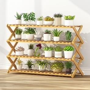 4-Layer Balcony Living Room Collapsible Solid Wood Flower Stand Potted Planting Shelves, Length: 100cm