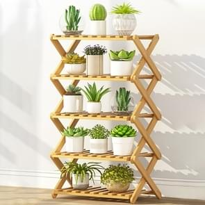 5-Layer Balcony Living Room Collapsible Solid Wood Flower Stand Potted Planting Shelves, Length: 50cm