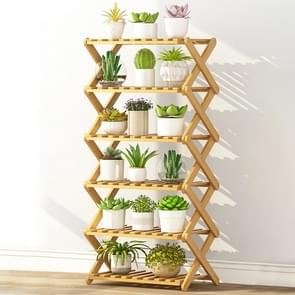 6-Layer Balcony Living Room Collapsible Solid Wood Flower Stand Potted Planting Shelves, Length: 50cm