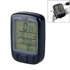 SUNDING 563A Bike Bicycle Waterproof Wired LCD Screen Luminous Mileage Speedometer Odometer, English Version(Black)