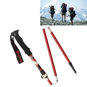 5 Node Portable Foldable Aluminium Alloy Alpenstocks Trekking Poles, Folding Length : 35CM (Red)