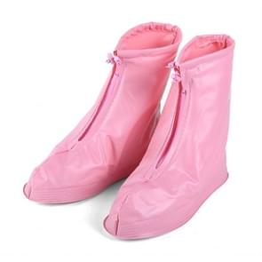 Fashion Children PVC Non-slip Waterproof Thick-soled Shoe Cover Size: XL (Pink)