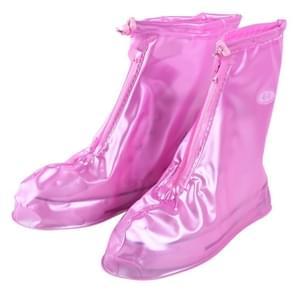 Mode PVC antislip-waterdichte dik-zolen Cover schoenmaat: L (roze)