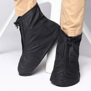 Fashion PVC Non-slip Waterproof Thick-soled Shoe Cover Size: XXL (Black)