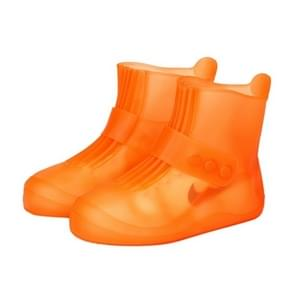 Fashion Integrated PVC Waterproof  Non-slip Shoe Cover with Thickened Soles Size: 30-31 (Orange)