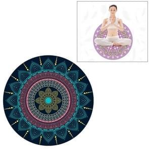 Blue Ethnic Style Pattern Round Yoga Meditation Mat Anti-skid Rubber Pad, Diameter: 70cm