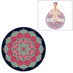 Red Ethnic Style Pattern Round Yoga Meditation Mat Anti-skid Rubber Pad, Diameter: 70cm