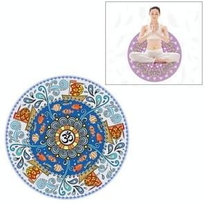 Ocean Blue Pattern Round Yoga Meditation Mat Anti-skid Rubber Pad, Diameter: 70cm