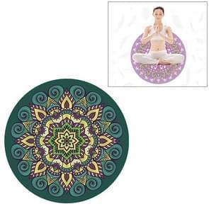 Green Ethnic Style Pattern Round Yoga Meditation Mat Anti-skid Rubber Pad, Diameter: 70cm