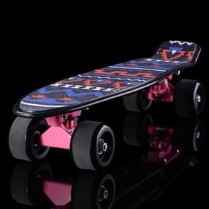 Shining Fish Plate Scooter Single Tilt Four Wheel Skateboard with 72mm Grinding Wheel(Black Pink)