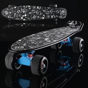 Shining Fish Plate Scooter Single Tilt Four Wheel Skateboard with 72mm Grinding Wheel(Black Blue)