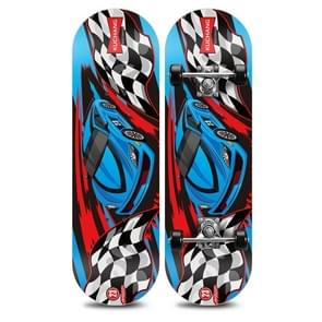 Blue Racing Pattern Children Double-warp Toy Four Wheels Skateboard Scooter