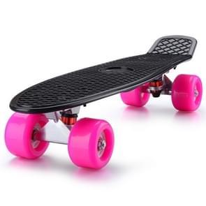 Shining Fish Plate Scooter Single Tilt Four Wheel Skateboard with 72mm Wheel(Black Pink)