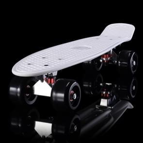 Shining Fish Plate Scooter Single Tilt Four Wheel Skateboard with 72mm Wheel(Black White)