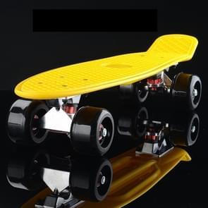 Shining Fish Plate Scooter Single Tilt Four Wheel Skateboard with 72mm Wheel(Black Yellow)