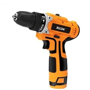 HILDA 16.8V Electric Drill with Lithium Battery Rechargeable 12V Two-Speed Electric Cordless Screwdriver(Orange)