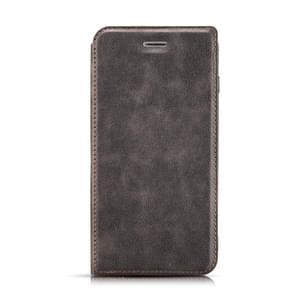 Retro eenvoudige ultra-dunne magnetische horizontale Flip lederen case voor OnePlus 7  met houder & card slots & Lanyard (zwart)