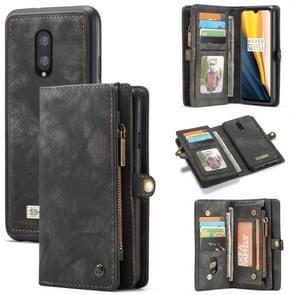 CaseMe-008 Detachable Multifunctional Horizontal Flip Leather Case for OnePlus 7, with Card Slot & Holder & Zipper Wallet & Photo Frame (Black)
