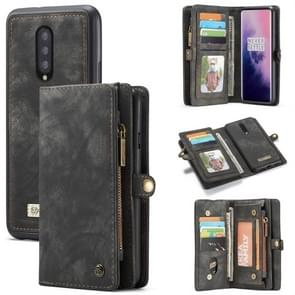 CaseMe-008 Detachable Multifunctional Horizontal Flip Leather Case for OnePlus 7 Pro, with Card Slot & Holder & Zipper Wallet & Photo Frame (Black)