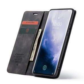 CaseMe-013 multifunctionele retro Frosted horizontale Flip lederen case voor OnePlus 7 Pro  met kaartsleuf & houder & rits portemonnee & fotolijst (zwart)
