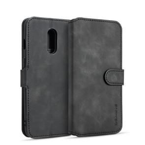 DG.MING Retro Oil Side Horizontal Flip Case for OnePlus 7, with Holder & Card Slots & Wallet (Black)