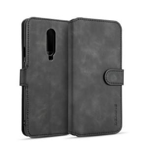 DG.MING Retro Oil Side Horizontal Flip Case for OnePlus 7 Pro, with Holder & Card Slots & Wallet (Black)