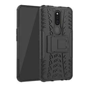 Shockproof  PC + TPU Tire Pattern Case for OPPO F11 Pro, with Holder (Black)